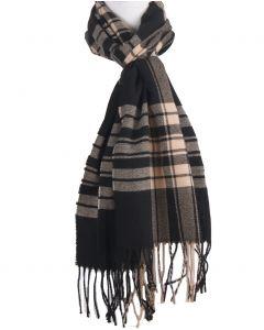 Zwarte sjaal met ruiten in beige