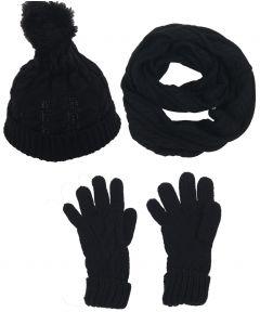 Set van muts, handschoenen en sjaal in zwart