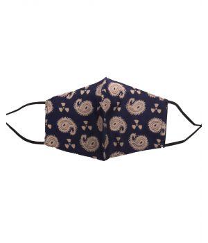 Katoenen verstelbaar mondkapje met marineblauw-goude paisley print
