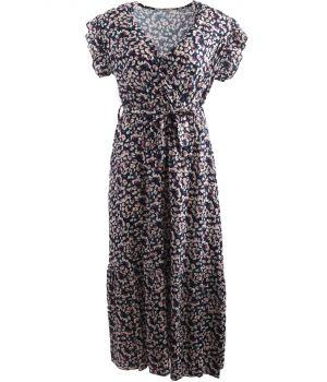 Donkerblauwe maxi jurk met floral print