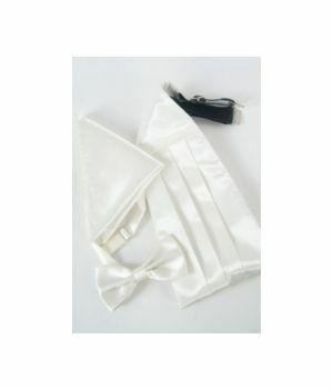 set of ivory satin cummerbund, bow tie and pocket square
