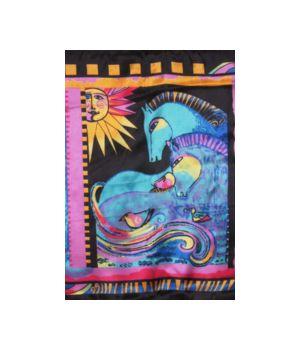 Vierkante zwarte sjaal met art print