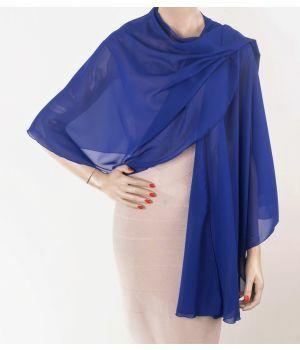 Kobaltblauwe soepelvallende cape stola