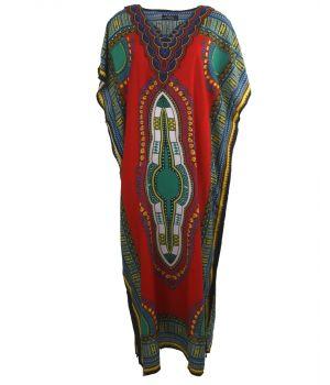 Koeldragende kaftan met ornament print in rood-groen