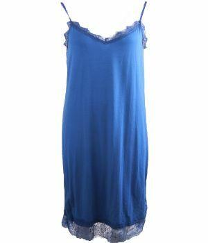 Tricot onderjurk met kant in kobaltblauw