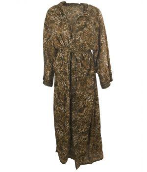 Lange zijde-blend kimono met paisley in olijfgroen