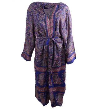 Lange kobaltblauwe zijde-blend kimono met paisley print in roze