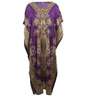 Kaftan in paars met mixed design en V-hals