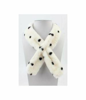Skinny ivory colored polka dot fur scarf