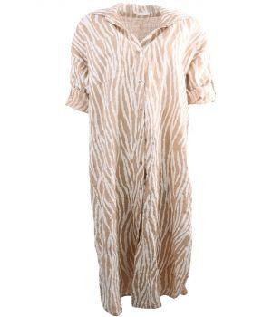 Camelkleurige linnen jurk met tijgerprint
